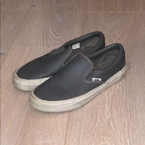 Leather Gray Vans Slip-ons
